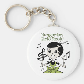 Hungarian Girls Rock Basic Round Button Keychain
