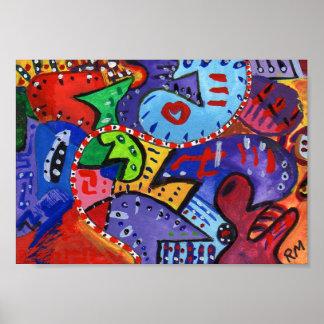 Hungarian Gouache Abstract Art Poster