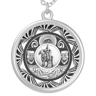 Hungarian ink motif silver plated necklace