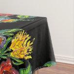 Hungarian - kalocsai floral pattern in black tablecloth