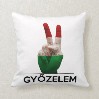 Hungarian Magyar victory hand v-shape peace finger Throw Pillow