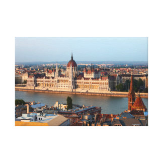 Hungarian Parliament at Sunset in Budapest Canvas Print