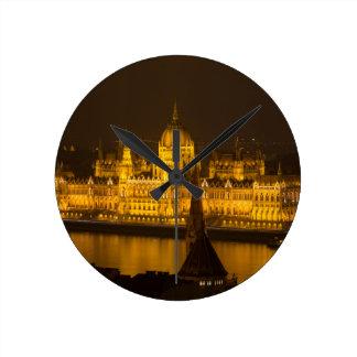 Hungarian Parliament Budapest by night Round Clock