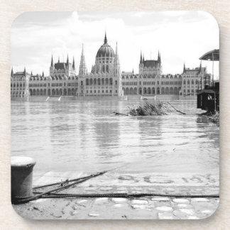 Hungarian Parliament Building across River Danube Drink Coaster