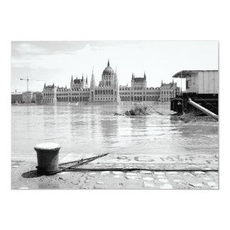 Hungarian Parliament Building across River Danube 5x7 Paper Invitation Card