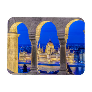 Hungarian Parliament Building at Dusk Rectangle Magnets
