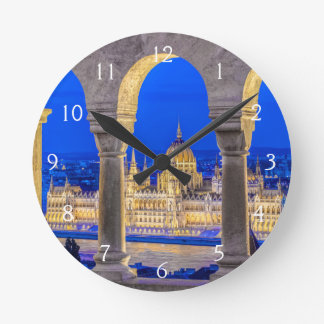 Hungarian Parliament Building at Dusk Round Clock