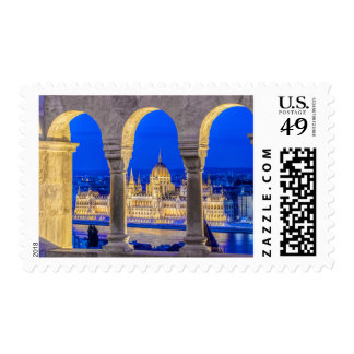 Hungarian Parliament Building at Dusk Stamps