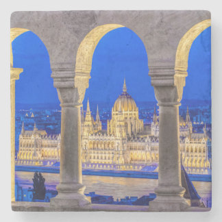 Hungarian Parliament Building at Dusk Stone Coaster