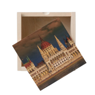 Hungarian Parliament Building in Budapest, Hungary Wooden Keepsake Box