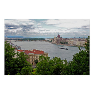 Hungarian Parliament from across the Danube Poster