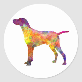 Hungarian Shorthaired Pointer in watercolor Classic Round Sticker