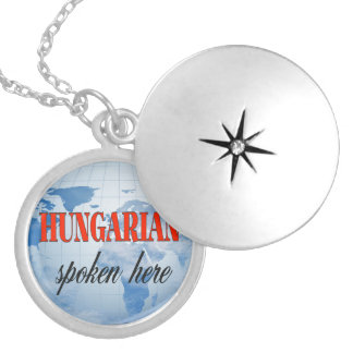 Hungarian spoken here cloudy earth silver plated necklace