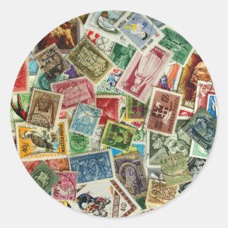 Hungarian Stamp Mixture Classic Round Sticker