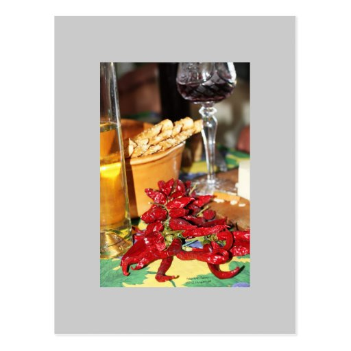 Hungaricum, white and red whine, cheese post card