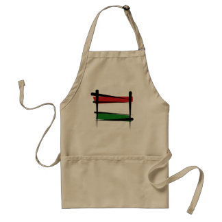 Hungary Brush Flag Adult Apron