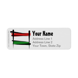 Hungary Brush Flag Label