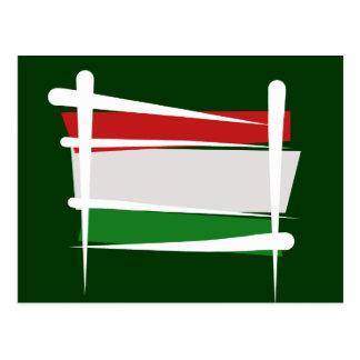 Hungary Brush Flag Postcard