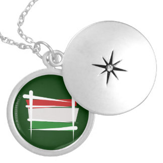 Hungary Brush Flag Silver Plated Necklace
