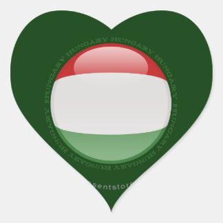Hungary Bubble Flag Heart Sticker