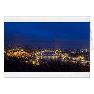Hungary Budapest at night panorama Card
