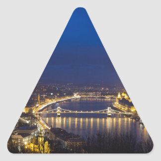 Hungary Budapest at night panorama Triangle Sticker