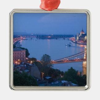 HUNGARY, Budapest: Szechenyi (Chain) Bridge, 2 Metal Ornament