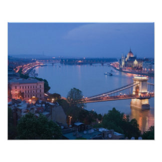 HUNGARY, Budapest: Szechenyi (Chain) Bridge, 2 Poster