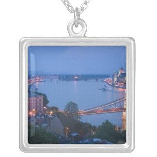 HUNGARY, Budapest: Szechenyi (Chain) Bridge, 2 Silver Plated Necklace