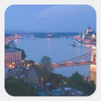 HUNGARY, Budapest: Szechenyi (Chain) Bridge, 2 Square Sticker