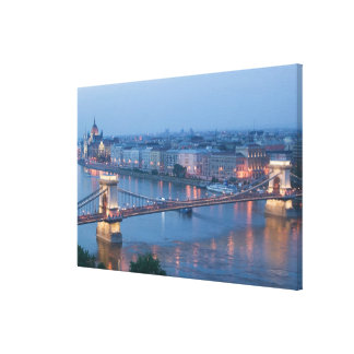 HUNGARY, Budapest: Szechenyi (Chain) Bridge, 3 Canvas Print