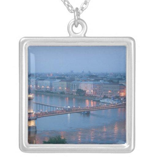 HUNGARY, Budapest: Szechenyi (Chain) Bridge, 3 Square Pendant Necklace