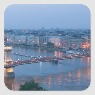 HUNGARY, Budapest: Szechenyi (Chain) Bridge, 3 Square Sticker