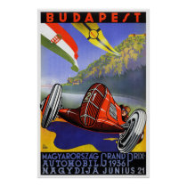Hungary Budapest Vintage Travel Poster Restored