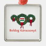 Hungary Christmas 2 Square Metal Christmas Ornament
