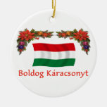 Hungary Christmas Double-Sided Ceramic Round Christmas Ornament