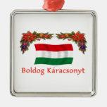 Hungary Christmas Square Metal Christmas Ornament