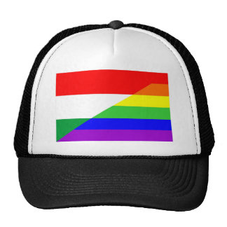 hungary country gay proud rainbow flag homosexual trucker hat
