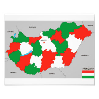 hungary country political map flag photo art