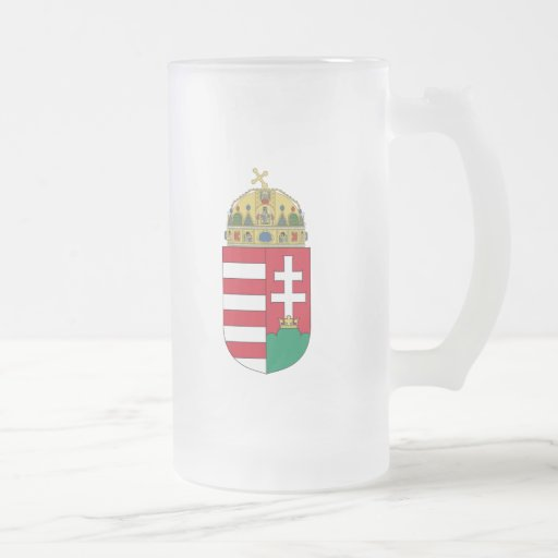 hungary emblem 16 oz frosted glass beer mug