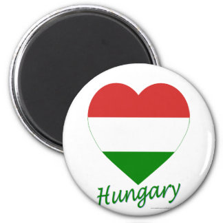 Hungary Flag Heart 2 Inch Round Magnet