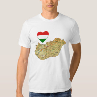 Hungary Flag Heart and Map T-Shirt