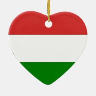 Hungary Flag Heart Double-Sided Heart Ceramic Christmas Ornament