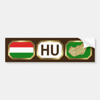 Hungary Flag Map Code Bumper Sticker Car Bumper Sticker