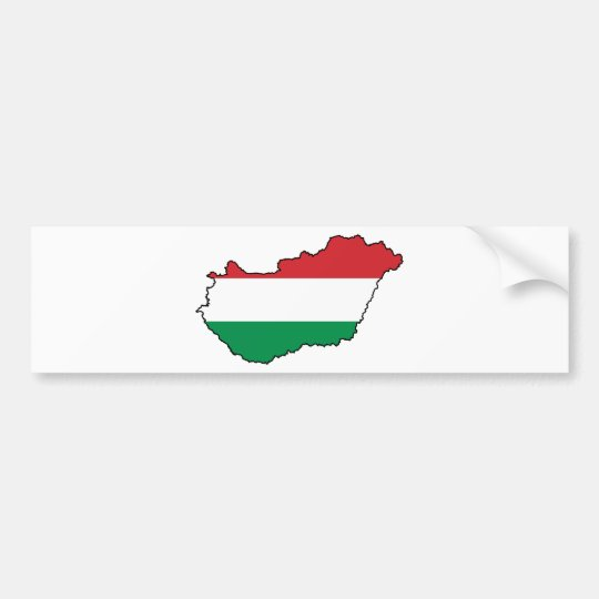 Hungary Flag Map HU Bumper Sticker