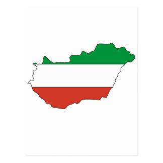 Hungary flag map postcard