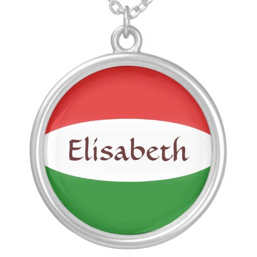 Hungary Flag + Name Necklace