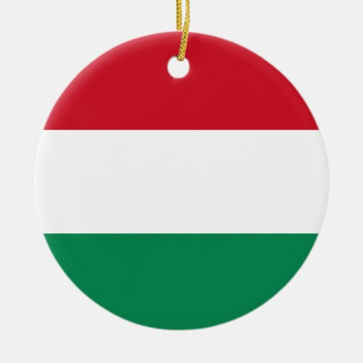 Hungary Flag Double-Sided Ceramic Round Christmas Ornament