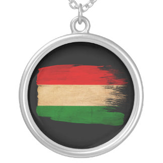 Hungary Flag Round Pendant Necklace