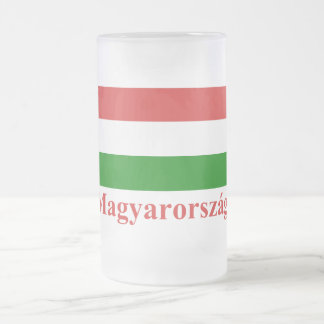 Hungary Flag with Name in Hungarian Frosted Glass Beer Mug